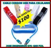 CABLE CORDON USB PARA CELULARES $100